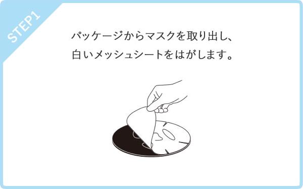 STEP1 パッケージからマスクを取り出し、白いメッシュシートをはがします。